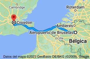 Mapa de Aeropuerto de Bruselas (BRU), Leopoldlaan, 1930 Zaventem, Bélgica a Croydon, Reino Unido