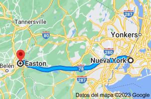 Mapa de Nueva York, EE. UU. a Easton, Pensilvania, EE. UU.
